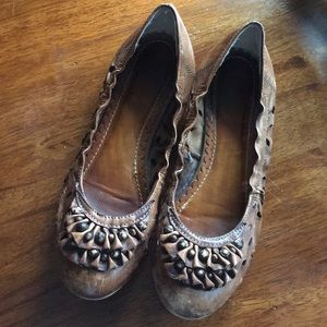 Anthro Lucky Penny Ruffled Leather Flats